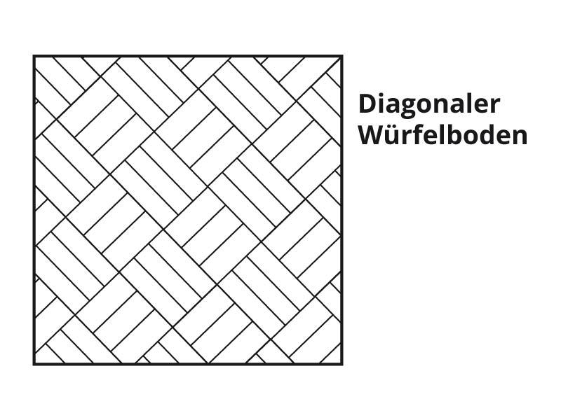 Diagonaler Würfelboden