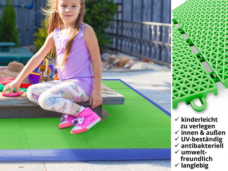 Die Kunststoff-Fliesen sind leicht zu verlegen und bilden innen wie außen einen farbenfrohen und hygienischen Untergrund in Spielzonen.