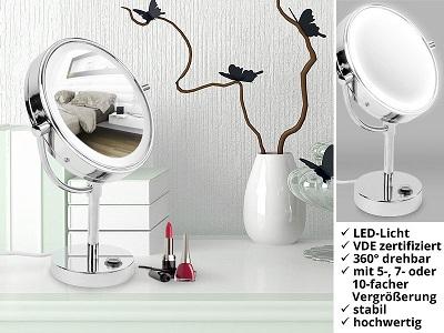 stand kosmetikspiegel mit led beleuchtung. Black Bedroom Furniture Sets. Home Design Ideas