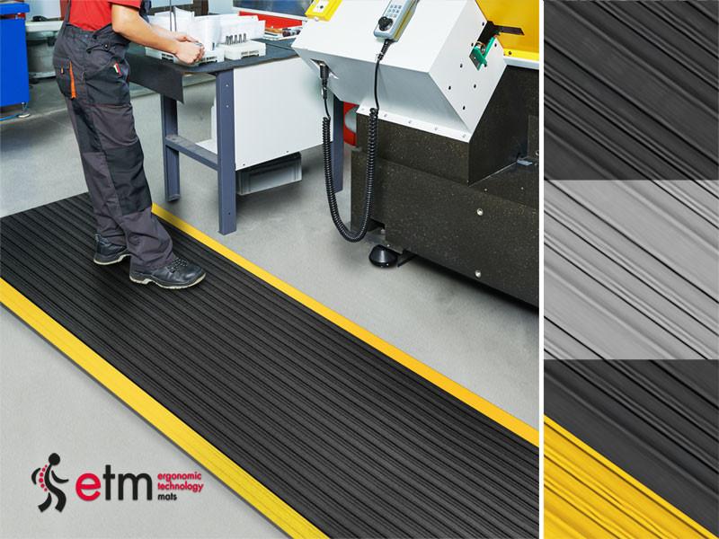 Anti-Erm/üdungsmatte Soft-Tritt Schwarz-Gelb Warnstreifen 60x250 cm Arbeitsplatzmatte