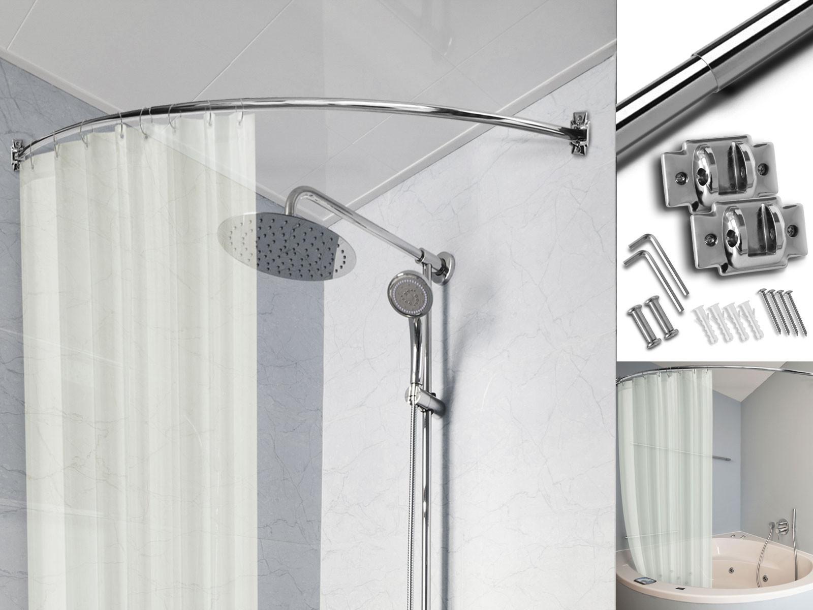 Duschvorhangstange   Gebogen   Weiß oder verchromt   Floordirekt.de
