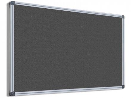 Filz-Pinnwand mit Aluminium-Rahmen   Grau   5 Größen