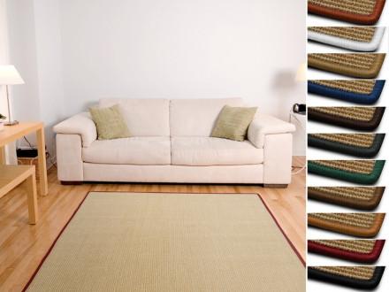 Sisal-Teppich auf Maß   Salvador natur   Kettelung in Wunschfarbe