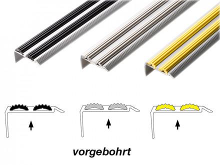 Treppenkantenprofil mit Doppel-Gummieinlage | Power Grip | Vorgebohrt