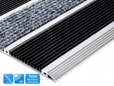 Alu-Türmatte Select Mat Ribbed PVC mit Faser und Gummi