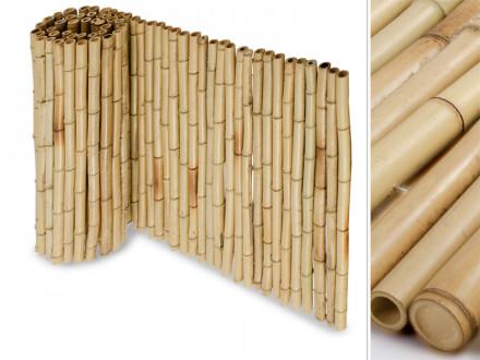 Bambus-Sichtschutzzaun | Natur | Vollrohr | 3 Größen